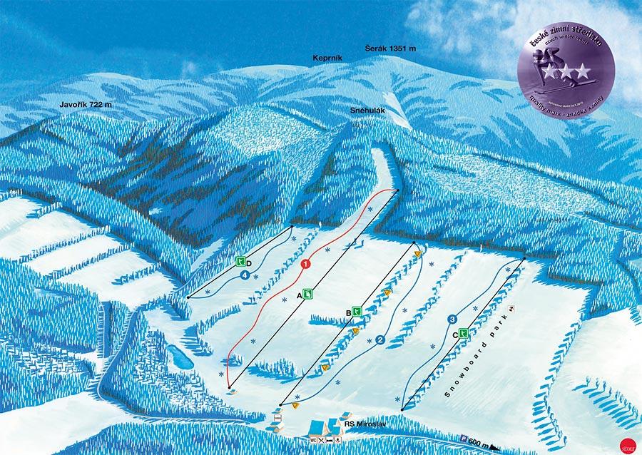 Mapa sjezdovek SKI CENTRUM Miroslav