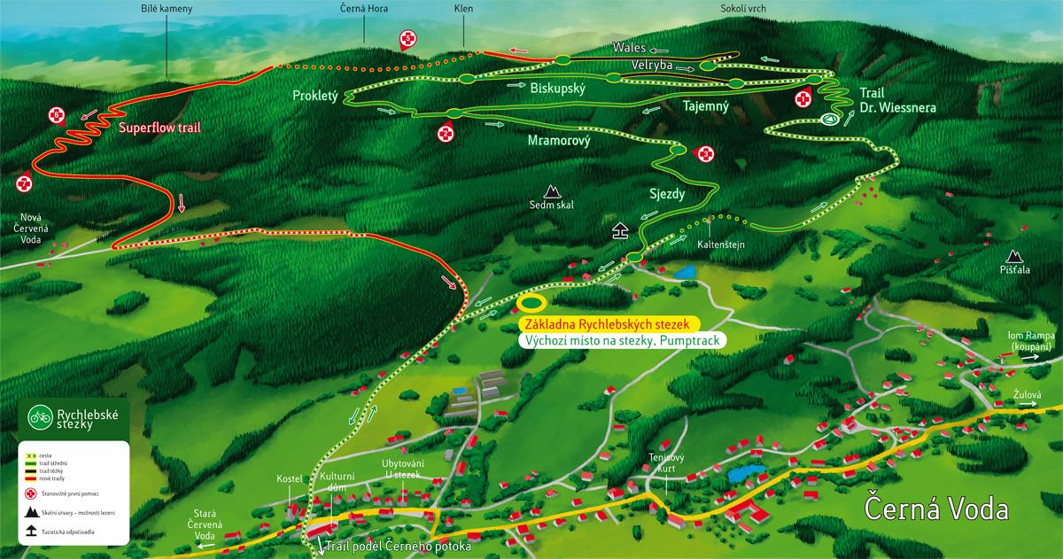 Plastická mapa Rychlebských stezek